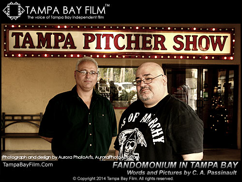 Tampa Bay independent filmmakers Andy Lalino and Rick Danford show off the premier of their Fandomonium in Tampa Bay event series on June 22, 2014, at the Tampa Pitcher Show
